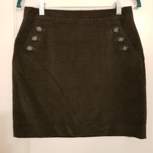 Banana Republic corduroy A line mini skirt green